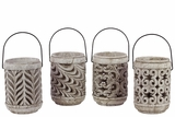 Elegant Set of Four Cement Lanterns w/ Unique Design