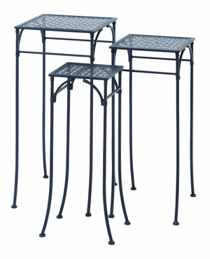 "Elegant Set of Three Square Plant Stands 3/S 28"", 26"", 24"" by Benzara"