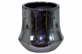 Elegant Silver Plated Ceramic Planter w/ Round Base & Wide Mouth