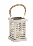 Elegant Square Shaped Stainless Steel Glass Lantern by Woodland Import