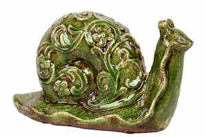 Elegant & Steady Ceramic Snail w/ Beautiful Floral Motif in Green Large