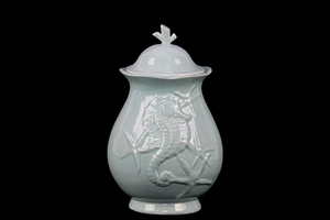 Elegant & Stunning Ceramic Canister w/ Seashell Design in Blue Large