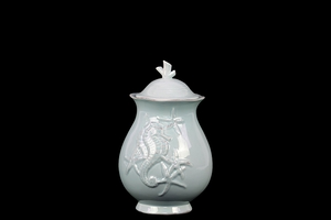 Elegant & Stunning Ceramic Canister w/ Seashell Design in Blue Small
