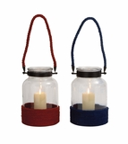 Elegant Styled Classy Glass Rope Lantern 2 Assorted by Woodland Import