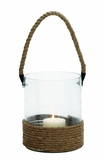 Elegant Styled Glass Lantern w Rope Handle by Woodland Import