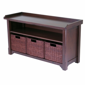 Elegant & Versatile Bench with Storage Shelf and 3 Small Baskets by Winsome Woods