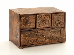 Elegant Well Designed Wood Carved Box by Woodland Import