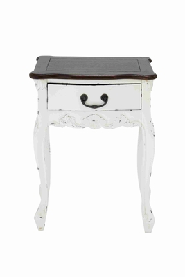 Elegant White Dona Wooden Table with Brown Top and a Drawer Brand Woodland