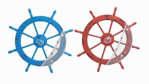 Elegant Wood Ships Wheel 2 Assorted with Red and Blue Colors Brand Woodland