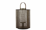 Elegant Wooden Lantern Designed w/ Wire Meshed & Metal Handle in Brown Large