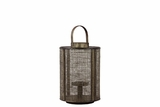 Elegant Wooden Lantern Designed w/ Wire Meshed & Metal Handle in Brown Small