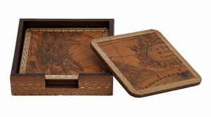 Elegant Wooden Leather Coaster with Unique Design - Set of 5 Brand Woodland