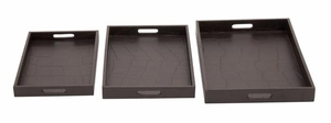 Elegant Wooden Leather Tray in Dark Brown Finish - Set of 3 Brand Woodland