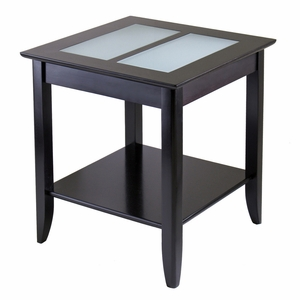 Elegant Wooden Syrah End Table with Frosted Glass Top by Winsome Woods