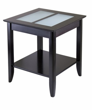 Winsome Wood Elegant Wooden Syrah End Table with Frosted Glass Top