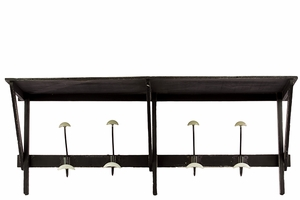Elegant Wooden Top Shelf w/ Four Metallic Hooks in Black