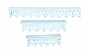 Elegant Wooden Wall Shelves with Artful Design - Set of 3 Brand Woodland