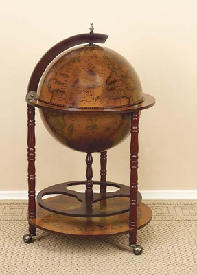 Elegant World Globe Wine Bar Wine Cabinet in Brown Finish Brand Woodland