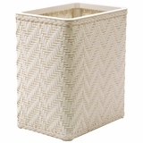 Elegante Collection Decorator Color Wicker Wastebasket in White by Redmon