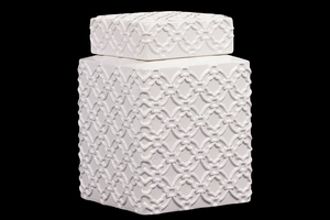 Elegantly Crafted w/ Beautiful Motif Ceramic Jar in White