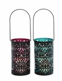 Elegantly Designed Metal Glass Lantern 2 Assorted by Woodland Import