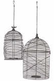 Elegantly Meshed Hanging Metal Wire Bird Cage Set of Two