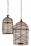 Elegantly Meshed Hanging Metal Wire Bird Cage Set of Two in Rustic Brown