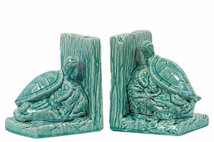 Elegantly & Skillfully Sculpted Ceramic Sea Turtle Bookend Turquoise