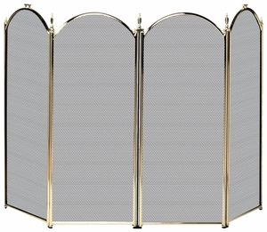 Elegantly Styled 4 Fold Polished Brass Screen