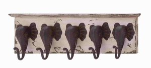 Elephants Antique Wood Metal Wall Hook Brand Benzara