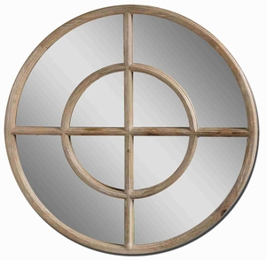 Eliseo Round Wall Mirror with Walnut Stain Reclaimed Wood Brand Uttermost