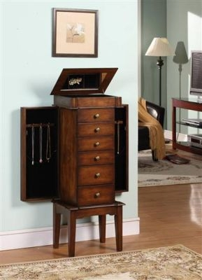 Elite Six Drawer Jewelry Armoire with Rich Mahogany Finish Brand Nathan
