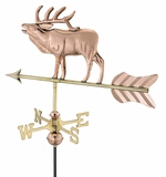Elk Garden Weathervane - Polished Copper w/Roof Mount by Good Directions