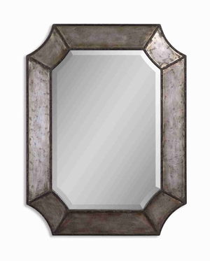 Elliot Distressed Mirror with Burnished Hammered Aluminum Edges Brand Uttermost