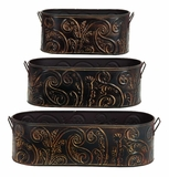 Embossed Motif Cold Cast Solid Metal Planters - Set of 3 Brand Woodland