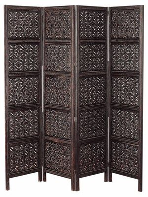 Emperor Hand Carved Room Divider 4 Panel Screen in Brown Brand Woodland