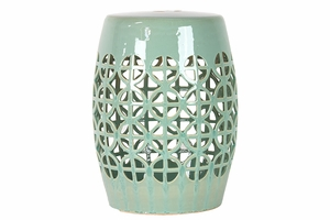 Enchanting Ceramic Garden Stool Open- Work Green