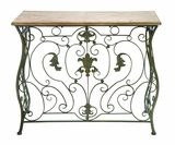 Enchanting Wood Console Table With Scrolling Floral Ornaments Brand Woodland