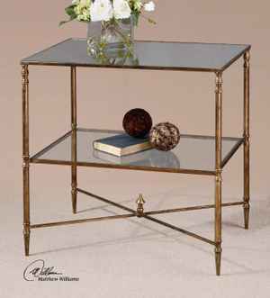 End Table - Sophisticated Lamp Table Stand With Gold Leaf Finish Brand Uttermost