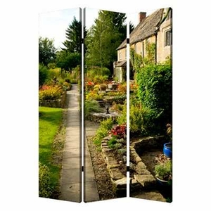 English Garden 3 Panel Screen with Complementary Images on Canvas Brand Screen Gem