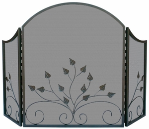Enthralling 3 Fold Arch Top Graphite Screen w/ Leaves