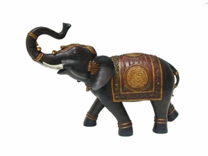 Enthralling Black Resin Elephant with Colorful Blanket