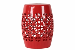 Enthralling Ceramic Garden Stool Open- Work Red by Urban Trends Collection