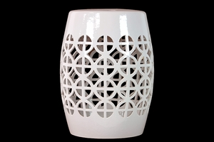Enthralling Ceramic Garden Stool Open- Work White by Urban Trends Collection