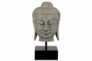 Enthralling Resin Buddha Bust in Silver Leaf Finish