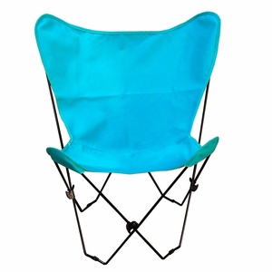 Enthralling Teal Colored Cotton Foldable Butterfly Chair by Alogma