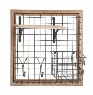Enthralling Wood Metal Wall Strong Rack - 97247 by Benzara