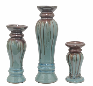 Enthrelling Set of three Ceramic Candle Holder by Three Hands Corp