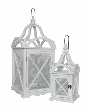 Enthrelling Set of Two Gray Wood Lantern by Three Hands Corp