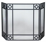 Enticing 3 Fold Black Wrought Iron Screen with Diamond Design